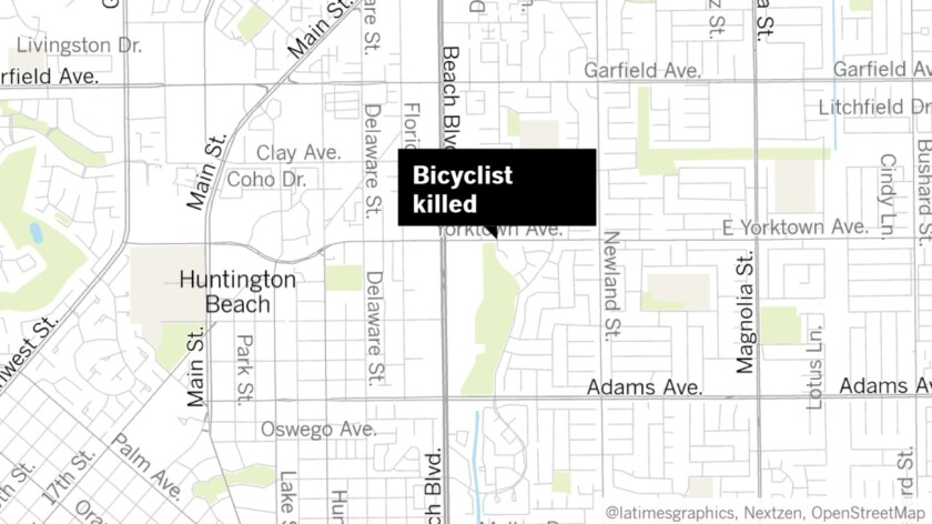A bicyclist was struck and killed by an SUV near Yorktown Avenue and Vasile Circle in Huntington Beach on Wednesday night.