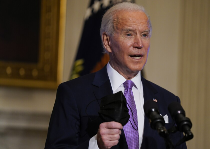 President Biden is encouraging Americans to wear masks to limit the spread of the coronavirus.