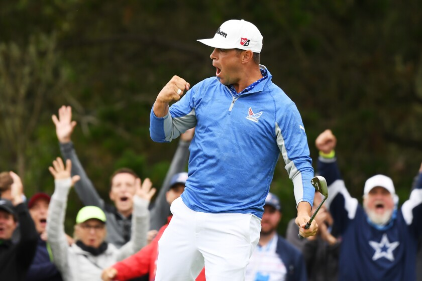 Gary Woodland of the United States celebrates a par-saving putt on the 12th green during the third round of the 2019 U.S. Open at Pebble Beach Golf Links on June 15, 2019 in Pebble Beach, California.