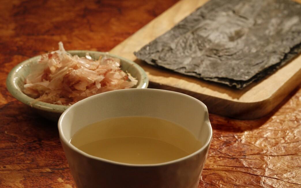 Bonito flakes and konbu seaweed dashi