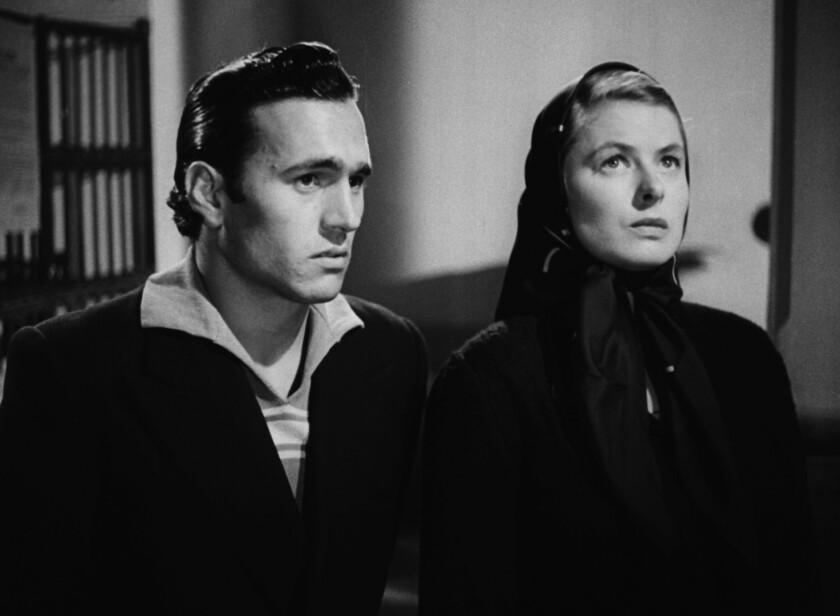 """Ingrid Bergman with Mario Vitale in """"Stromboli"""" in 1950."""