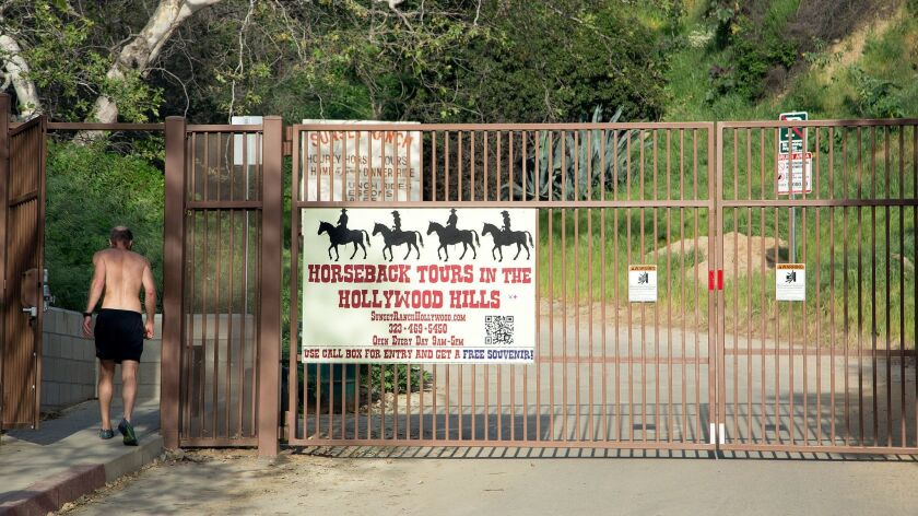 The Beachwood Drive gate, shown on March 14, is now off limits to hikers trekking to see the Hollywood sign.