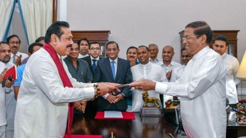 Former President Mahinda Rajapaksa sworn in as new Prime Minister, Colombo, Sri Lanka - 27 Oct 2018
