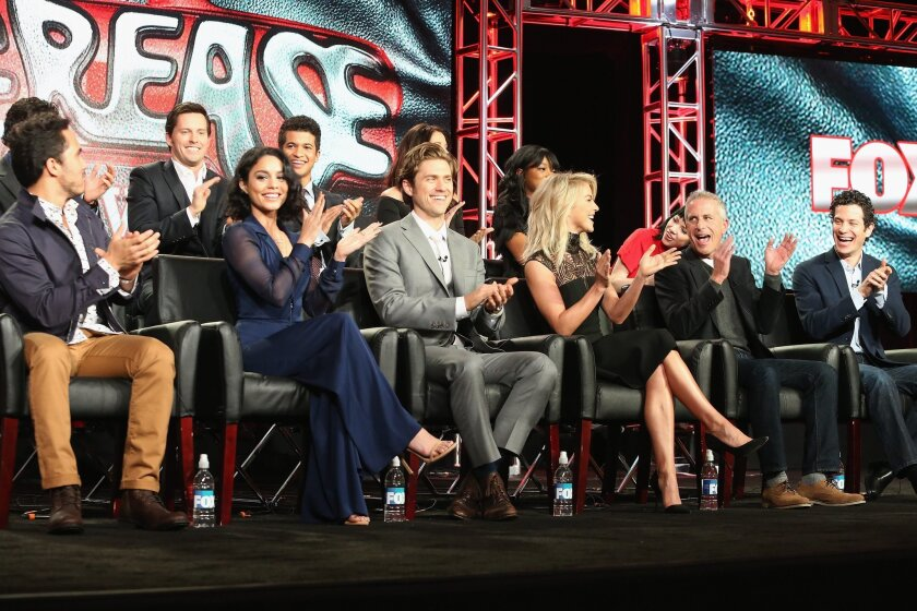 """Vanessa Hudgens, in blue, and the """"Grease Live!"""" cast get together Friday at the TCA press tour."""