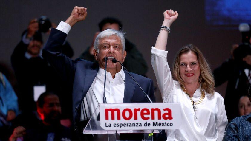 MEXICO CITY, -- SUNDAY, JULY 2, 2018: Newly elected President of Mexico Andrés Manual López Obrador
