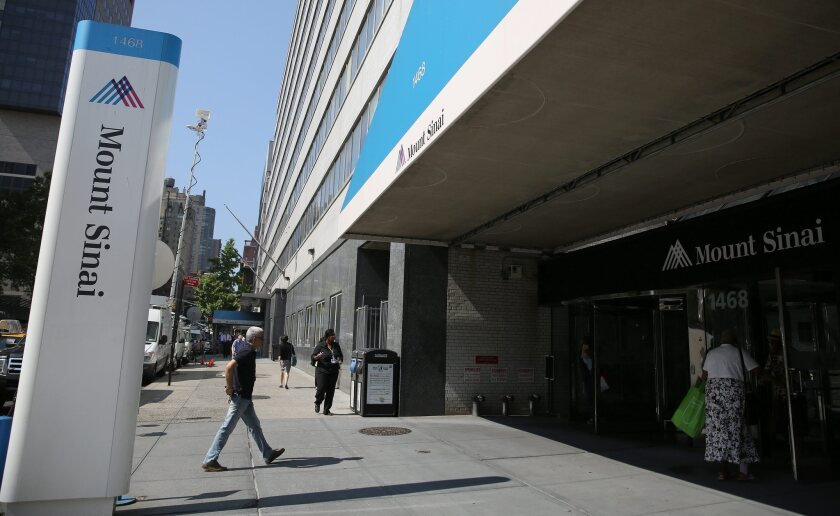 Mount Sinai Hospital in New York City, where a patient was being treated for symptoms similar to Ebola. Medical officials confirmed Wednesday the man does not have the disease.