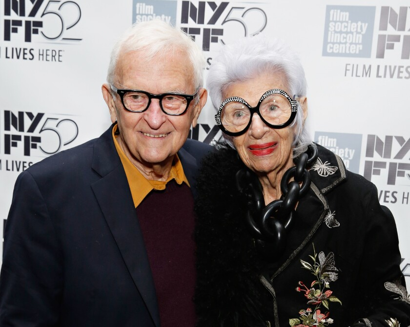 Director Albert Maysles, left, and fashion icon Iris Apfel at the New York Film Festival.