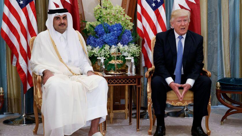 President Donald Trump holds a bilateral meeting with Qatar's Emir Sheikh Tamim Bin Hamad Al-Thani, in Riyadh, Saudi Arabia on May 21.