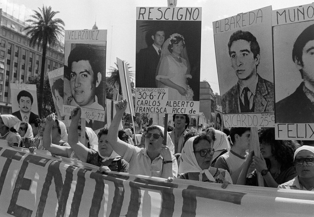 The Mothers of the Plaza de Mayo protest in front of the Government House in Buenos Aires on Dec. 8, 1983.