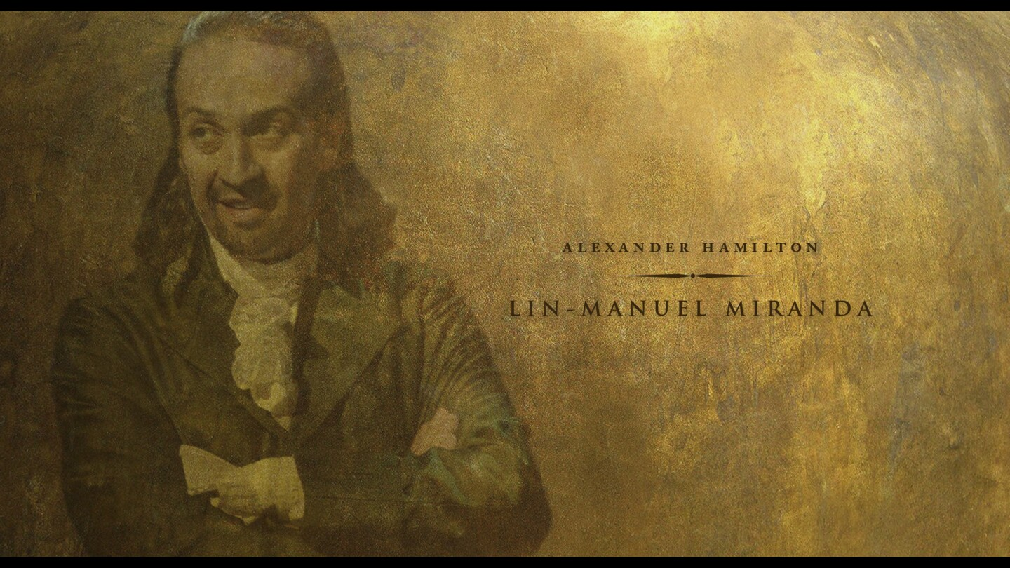 "Framegrab of the illustrated credits designed by Chris Rubino for ""Hamilton"" streaming on Disney+."