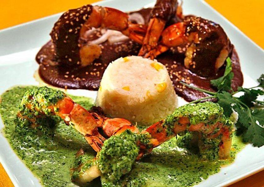 <i>Camarones</i> with cilantro, mole sauces.