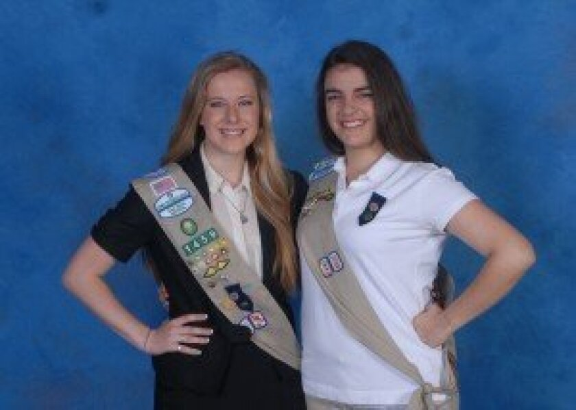 2012 Girl Scout Gold Award honorees included three Carmel Valley residents (left to right): Genna McGrath, Daniela Camilleri and (not pictured) Amy Lyden.