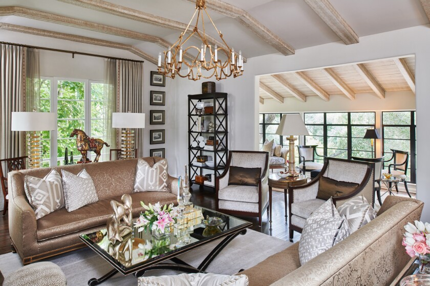 Shown is a luxe living room designed by Jennifer Bevan Interiors.