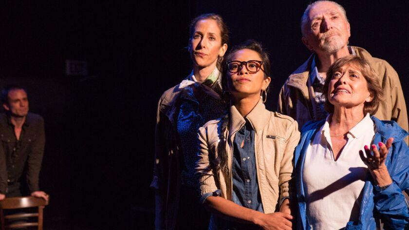 "The ""Walking to Buchenwald"" female-couple cast with, from left, Will Bradley, Mandy Schneider, Amiel"