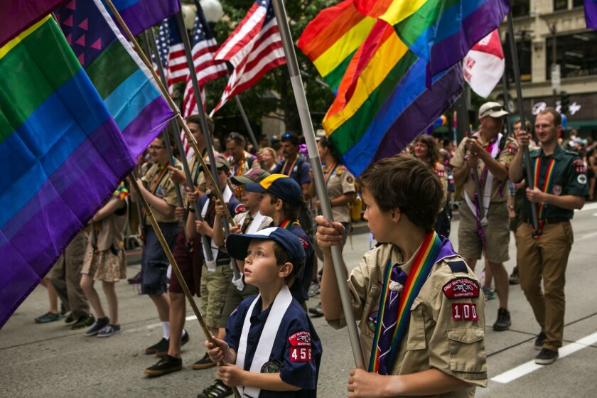 Boy Scouts marching in Seattle Pride Parade