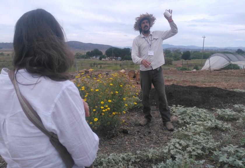 Farmer Erik Hjermstad leads AnamaR guests through the Sweet Spot Farm at Begent Ranch.