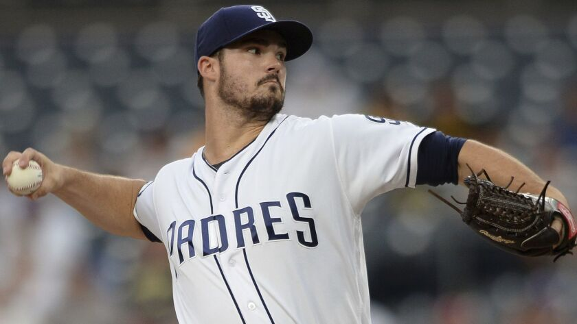 San Diego Padres starting pitcher Jacob Nix works against an Arizona Diamondbacks batter during the