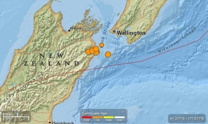 An image made available by the U.S. Geological Survey shows location of strong earthquake and aftershocks that hit New Zealand.