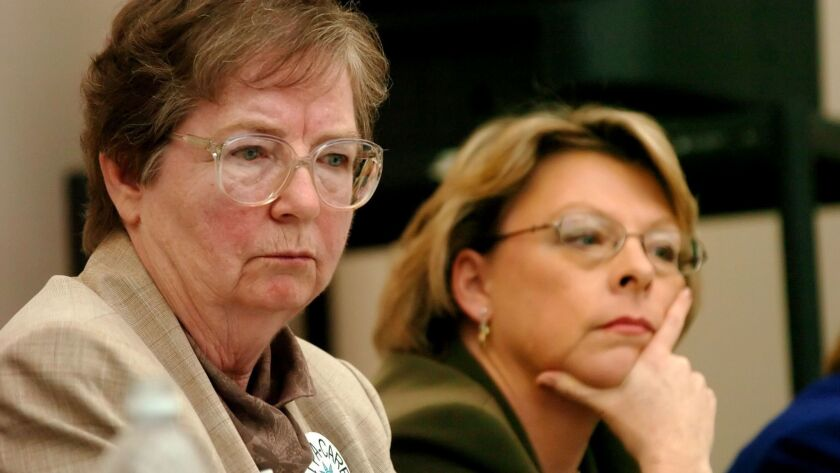 Sister Maureen Paul Turlish, left, at a forum for the Survivors Network of Those Abused by Priests in 2006.