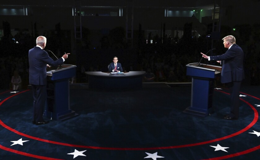 President Donald Trump and Democratic presidential candidate former Vice President Joe Biden at the first debate.