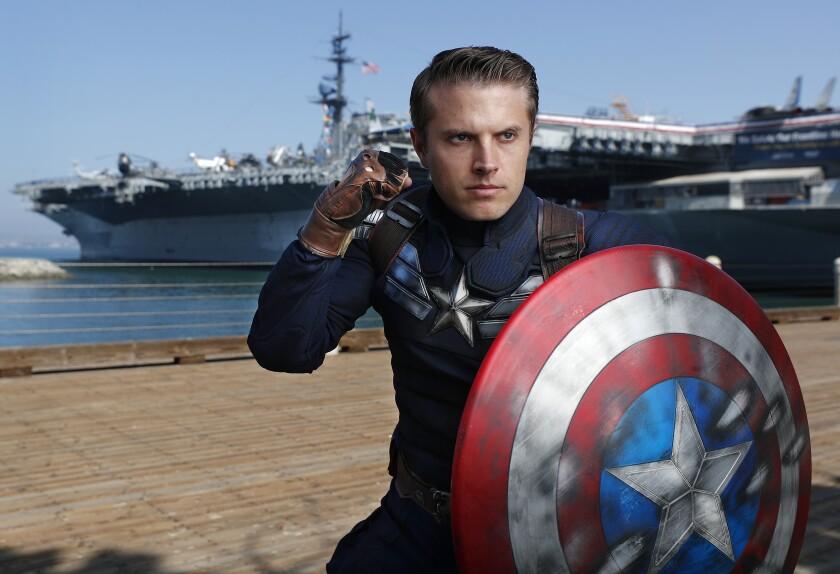 Matt Mullis dressed in Captain America's Stealth Suit.