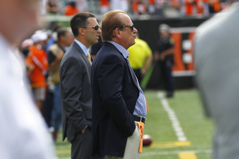 Chargers owner Dean Spanos looks on before the Bengals game.