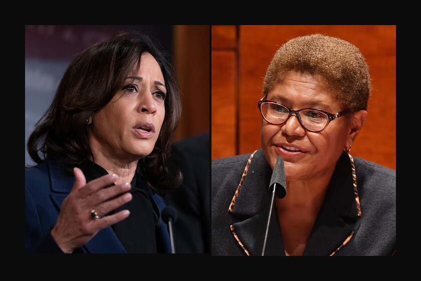 Sen. Kamala Harris (D-Calif.), left,  and Rep. Karen Bass (D-Los Angeles).