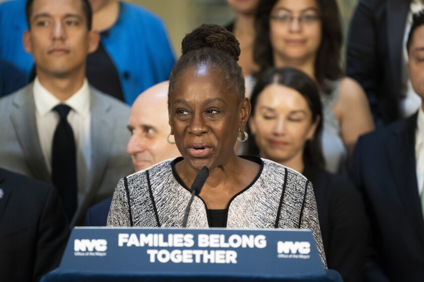New York First Lady Chirlane McCray welcomes volunteers providing assistance to immigrant families in Texas detention center at City Hall in Manhattan, on Monday September 17, 2018
