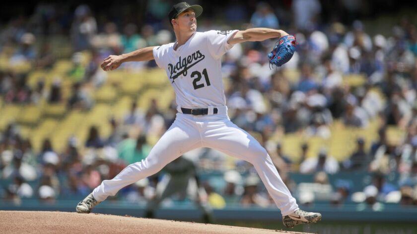 LOS ANGELES, CALIF. -- SUNDAY, MAY 27, 2018: Dodgers starting pitcher Walker Buehler delivers a pit