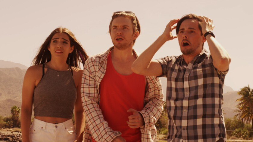 "Arienne Mandi, from left, Chris Brochu and Jake Thomas in the movie ""Baja."""