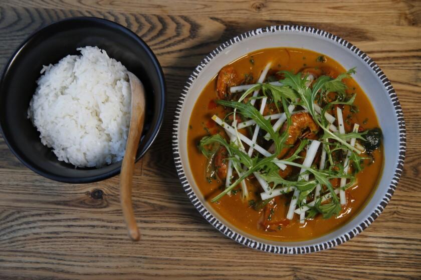 Ginataan prawns and rice at Irenia in Santa Ana.