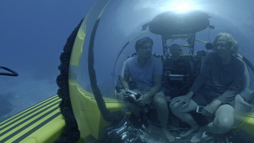 """Leonardo DiCaprio, left, and scientist Jeremy Jackson in the documentary """"Before the Flood."""""""