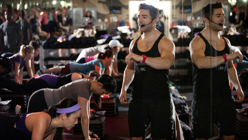 Joey Gonzalez leading a Barry's Bootcamp in Irvine.