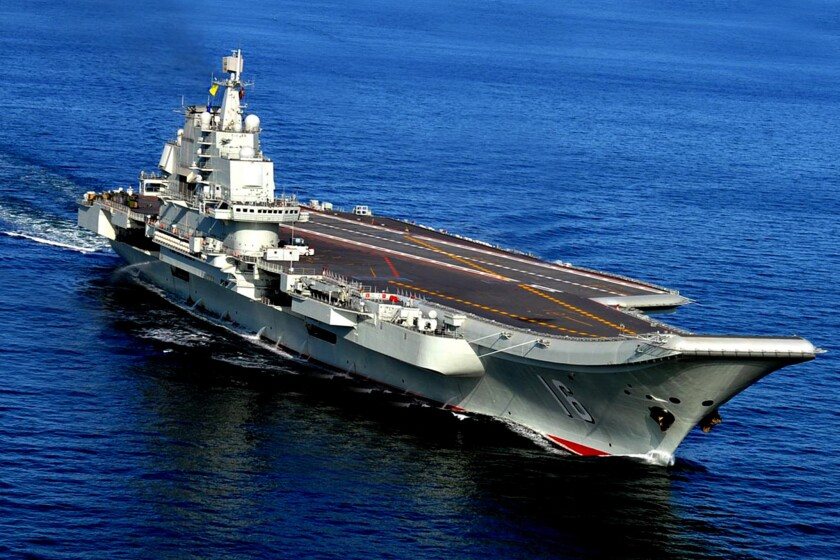 The Liaoning, China's first aircraft carrier, sails near Qingdao in Shandong province in October 2012.