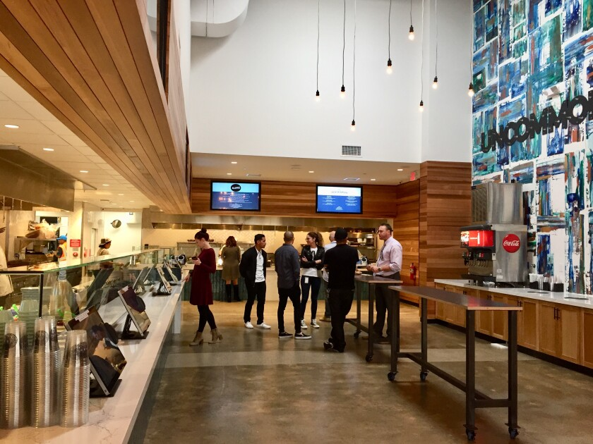 The quick-service kitchen and walk-up ordering area at Park Commons, a 10,000-square-foot food hall that opened Nov. 11 in Sorrento Valley.