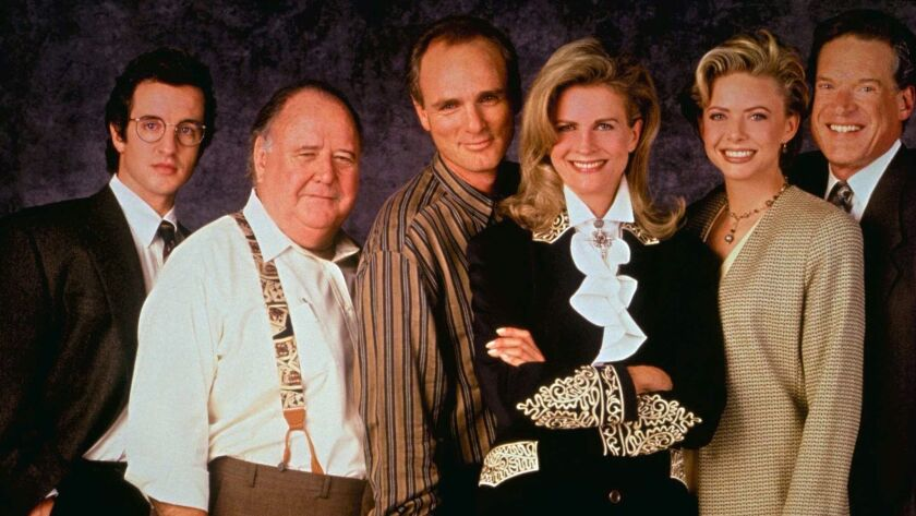 MURPHY BROWN stars (l-r) Grant Shaud as the executive producer, Pat Corley as the local saloonkeeper