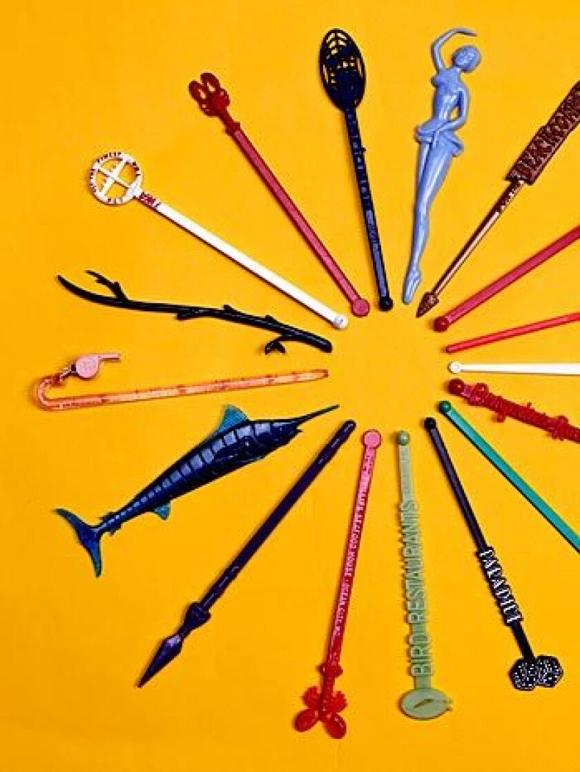 Swizzle sticks reflect a range of memorable places and experiences.
