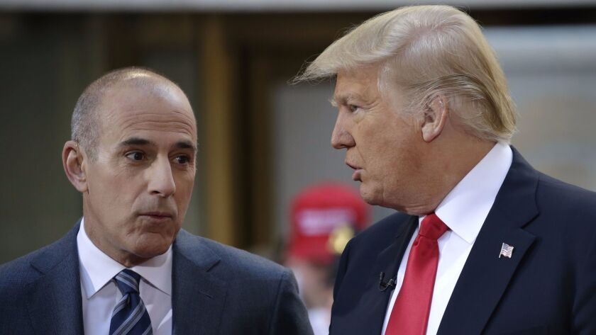 """Then-""""Today"""" show host Matt Lauer speaks with then-Republican presidential candidate Donald Trump on April 21, 2016."""