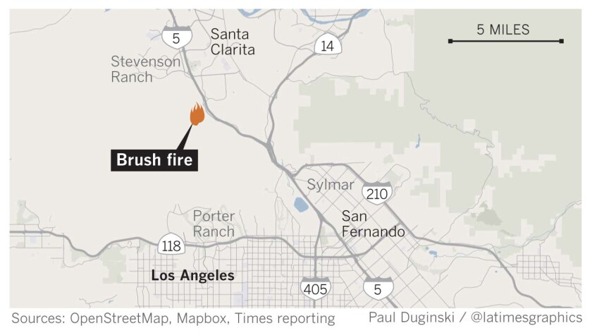 Map of brush fire in the Stevenson Ranch area.