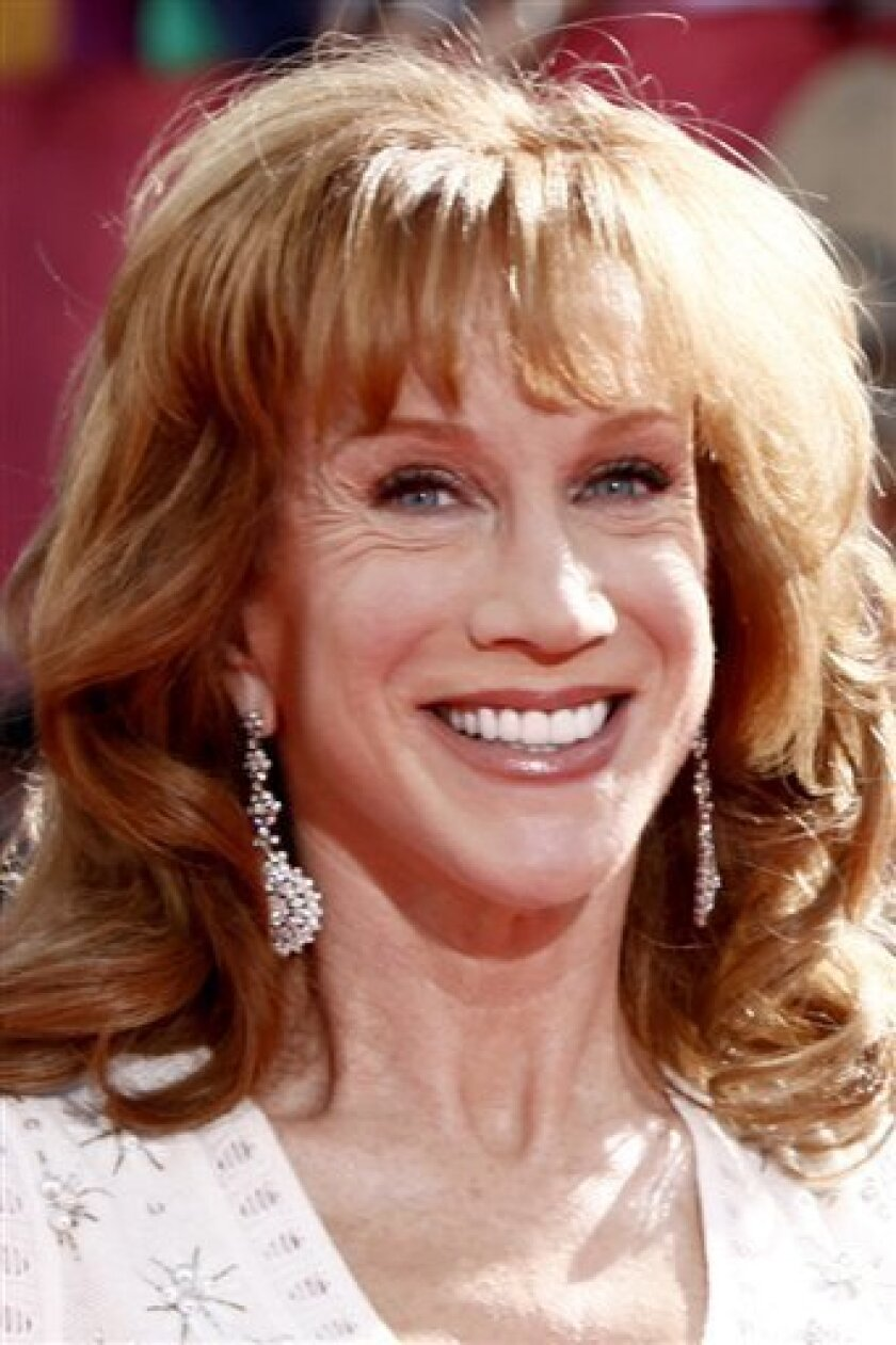 "FILE - In this Sunday, Sept. 20, 2009 file photo, Kathy Griffin arrives at the 61st Primetime Emmy Awards in Los Angeles. Griffin brought her ""Life on the D-List"" show to Sarah Palin's home state Friday, skewering the former Alaska governor at a raucous show in Anchorage. (AP Photo/Matt Sayles, File)"