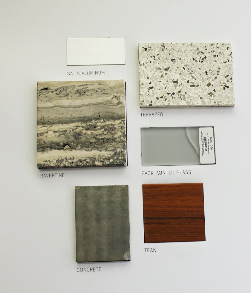 Proposed exterior materials and finishes for MCASD's expansion and remodel. Architect Paul Benton said 'great care was made in the selection of the materials so that they relate to each other.'