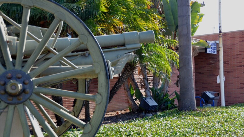 An authentic M-1902 U.S. Army field gun in front of the Costa Mesa Police substation.