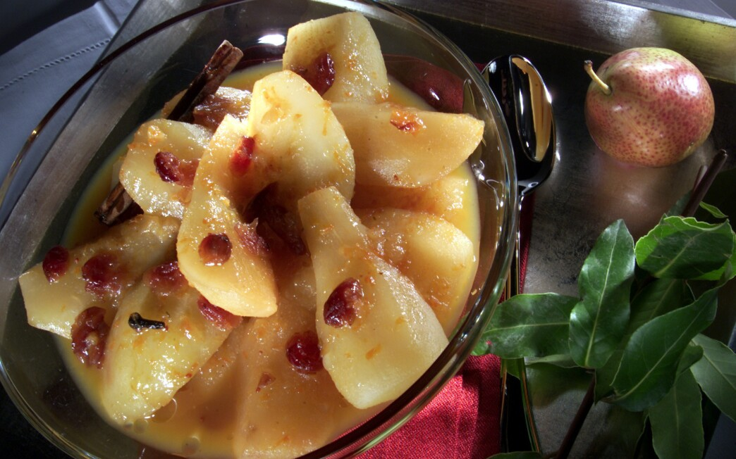 Winter pear compote with dried cranberries