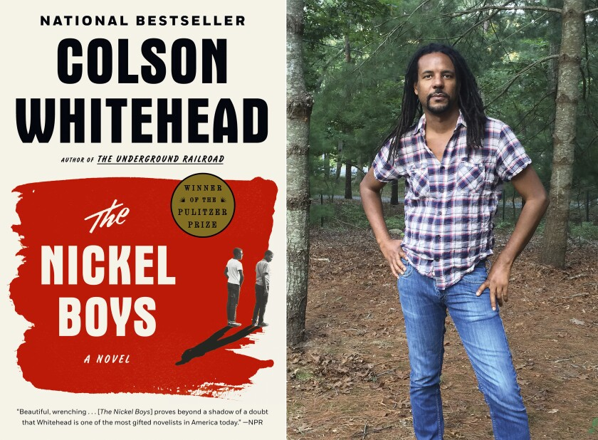 """This combination photo shows the cover of the Pulitzer Prize winning novel """"The Nickel Boys,"""" left, and a portrait of author Colson Whitehead. Whitehead became the first fiction writer to win Pulitzer Prizes for back to back novels. """"The Nickel Boys,"""" his followup to """"Underground Railroad,"""" won the Pulitzer in April and comes out in paperback this week. He also managed to finish a crime novel, with the working title """"Harlem Shuffle,"""" that he began more than a year ago. (Doubleday, left, and Madeline Whitehead/Doubleday via AP)"""