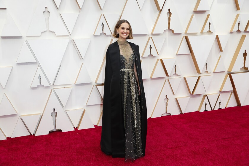 Natalie Portman arriving at the 92nd Academy Awards.