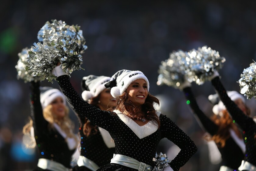 Cheerleaders of the Oakland Raiders perform against the Kansas City Chiefs in December in Oakland.
