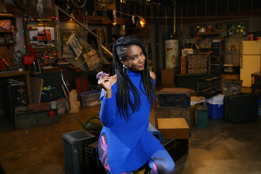 """Actress Tiffany Haddish is photographed on the set of the NBC sitcom, """"The Carmichael Show."""""""