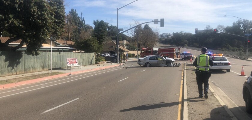 One person was killed and one person was hospitalized after two vehicle collided in Clairemont on Wednesday afternoon, San Diego police said.