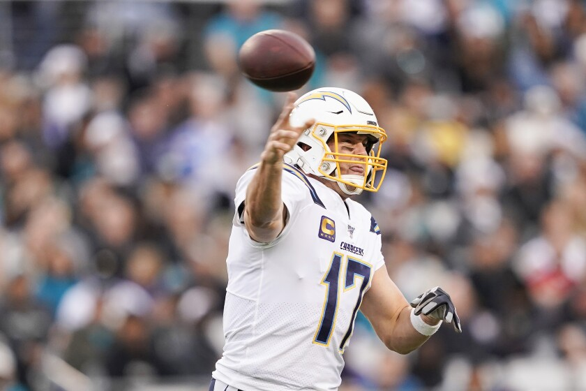 Chargers quarterback Philip Rivers passes during the second quarter.