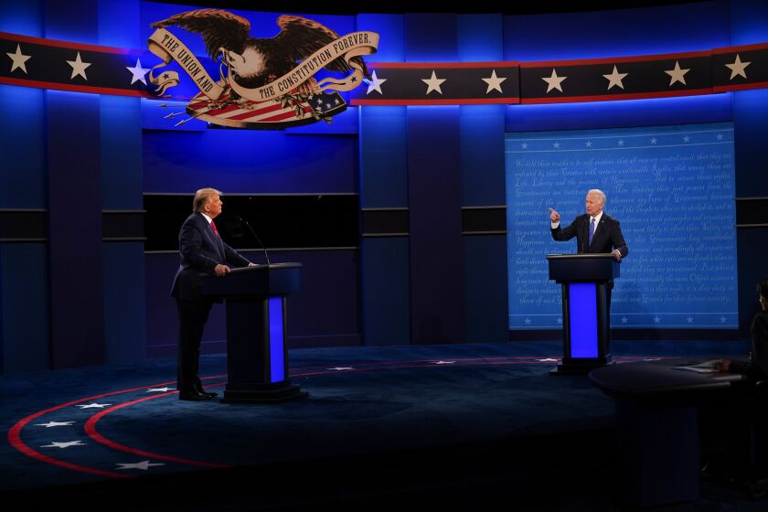 Both presidential candidates on the debate stage